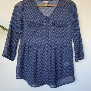 XS, Mossimo, blue retro floral print sheer top